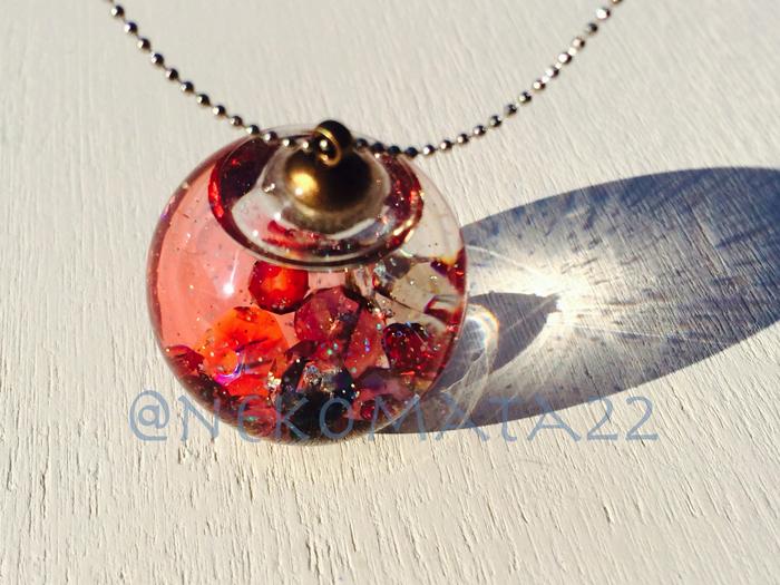 ガラスドームのネックレス/夕焼け